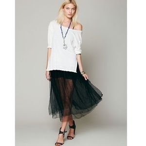Free people raw tulle skirt midi
